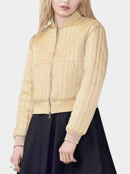 Beige Easy-matched Vertical Bar Bomber Jacket
