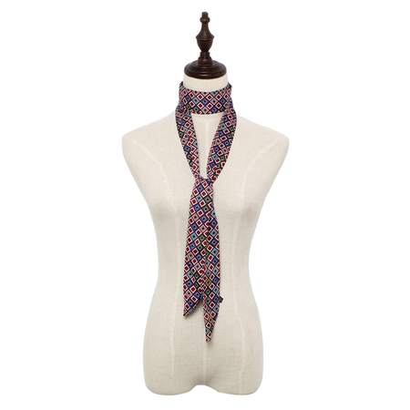 Retro Skinny Long Scarf in Multicolor