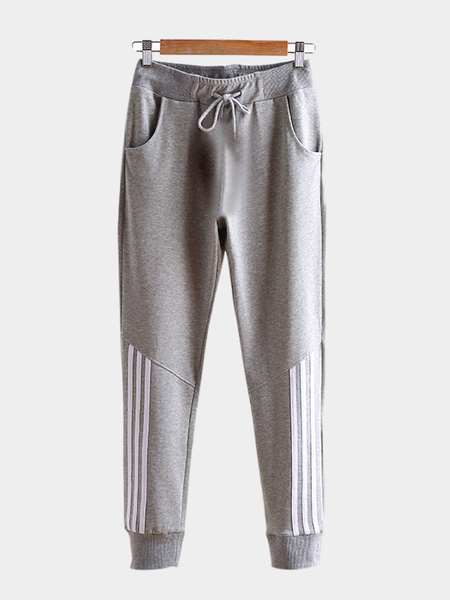 Light-Grey Casual Stretchable Drawstring Waist Jogger