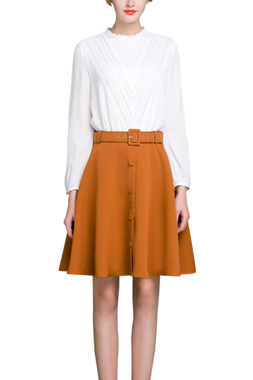 Button Front Flounced Hem Skirt with Belt