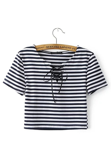 Stripe Lace-up Cropped T-shirt