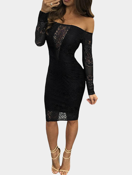 Black Sexy Off Shoulder Party Dress with Hollow Lace details