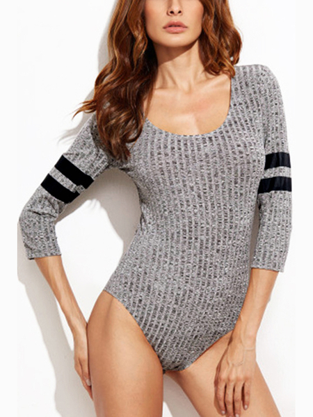 Grey Casual Knitted Stripe patrón Bodysuits