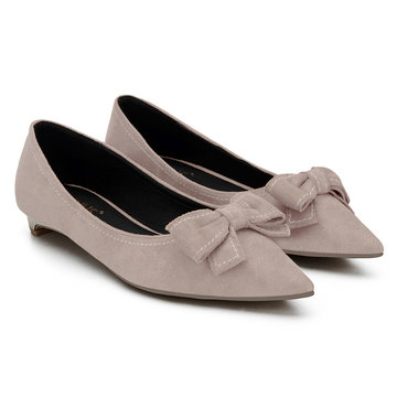 Nude Bowknot Pointed Toe Suede Flat Shoes