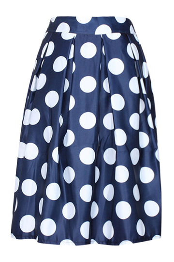 Blue Vintage Wave Point Pattern» A-line Skirt