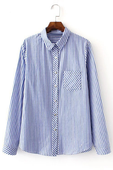 Blue And White Stripe Pattern Shirt