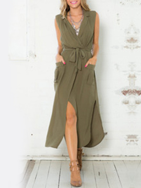 Col à revers splited Hem manches Jumpsuit avec Pocket