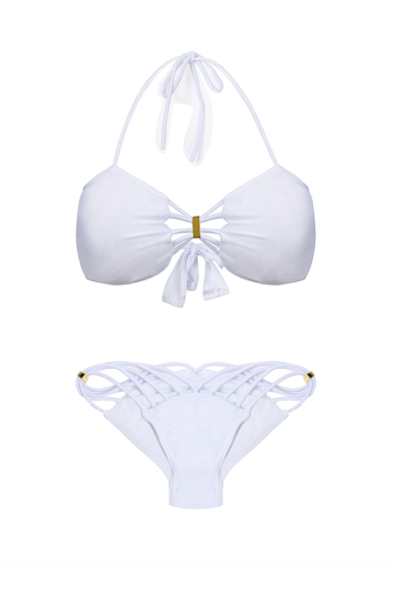 Blanc auto-cravate Halter Bikini Set