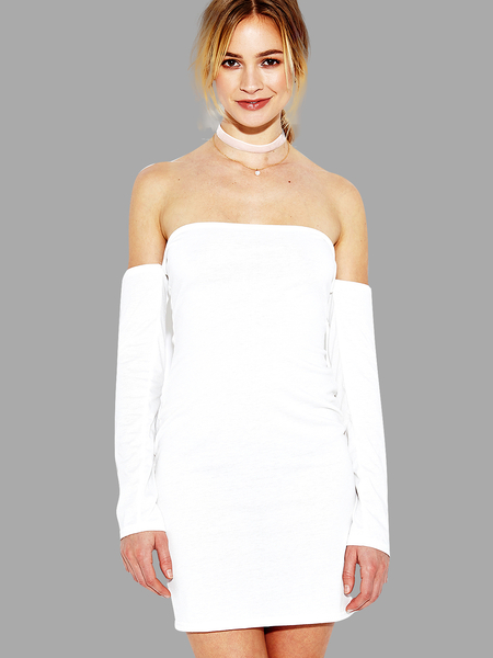 See-through White Off Shoulder Long Sleeves Bodycon Dress