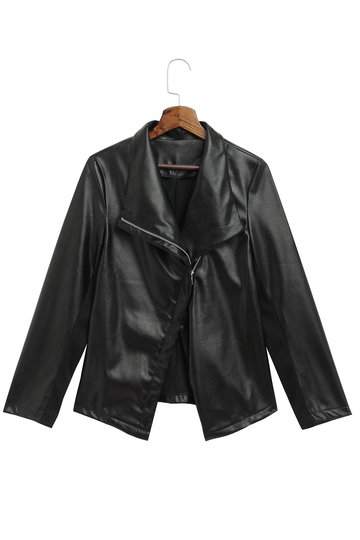 Black Lapel Leather Biker Jacket with Tassel Details