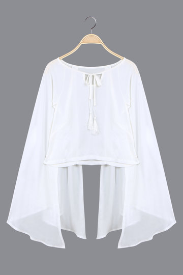 White See-through Pleats Cape Top with Straps