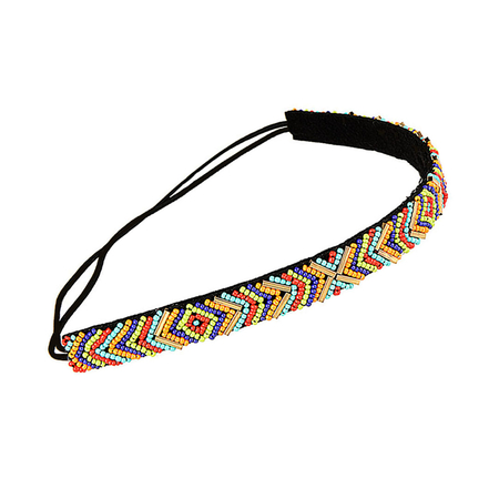 Ethnic Bead Headband in Multicolor with Elastic Band