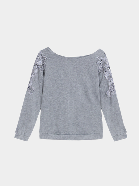 Grey Long Sleeves Lace Blouse with Zipper Back