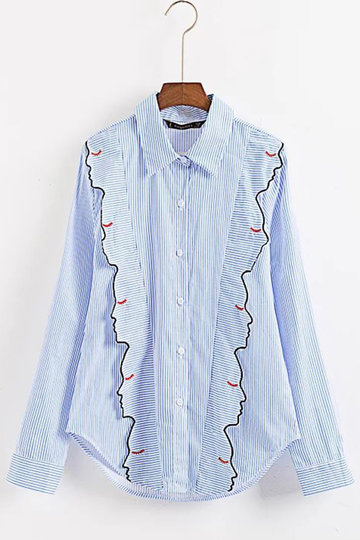 Stripe Pattern Shirt With Embroidery Details