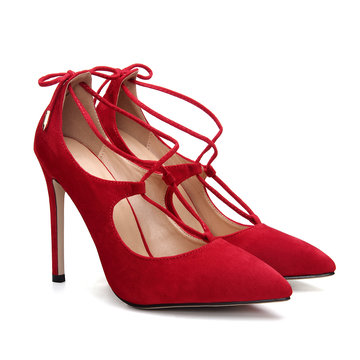 Red Pointed Toe Lace-up High Heels