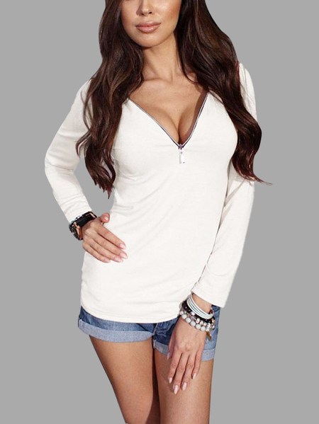 Casual Deep V Neck Zipper Design T-shirts in White