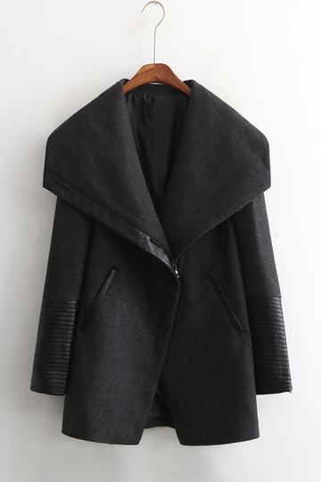 Waterfall Duffle Coat with Artificial Leather Detail