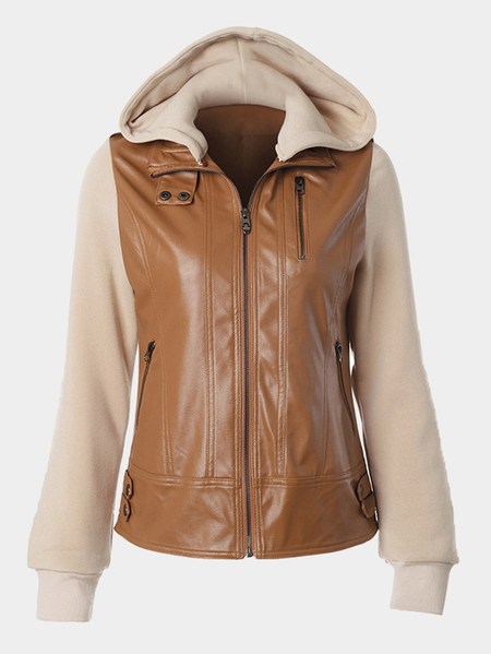 Brown Casual Zipper Design Splice Hooded Jacket Coat