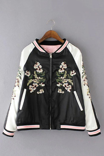 Fashion Floral Embroidery Bomber Jacket