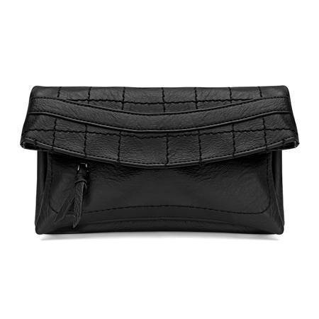 Black Leather-look Fold Over Clutch Bag with Allover Seam Detail