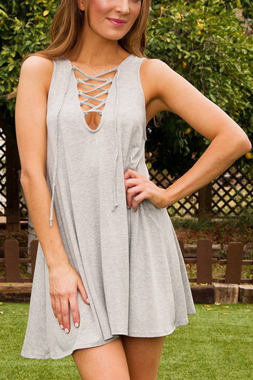 Light Grey Lace-up mangas A-line Top