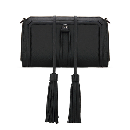 Black Textured Leather-look Clutch Bag with Detachable Tassel Embellishment