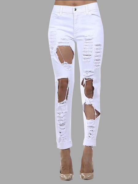 Boyfriend Blanc Denim taille haute Shredded Rips Jeans