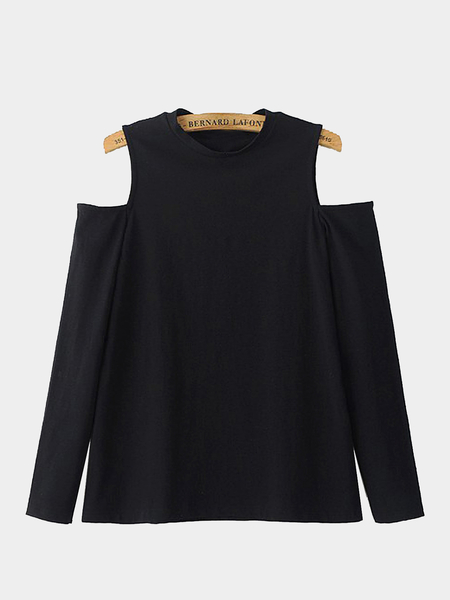 Cold Shoulder maniche lunghe in nero
