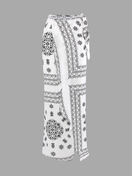 Bianco Stampa Tribal vita alta Maxi gonna