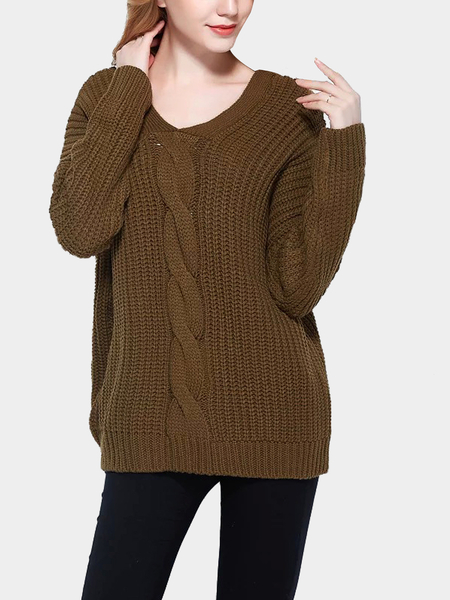Brown V Neck Sweater with Button Back