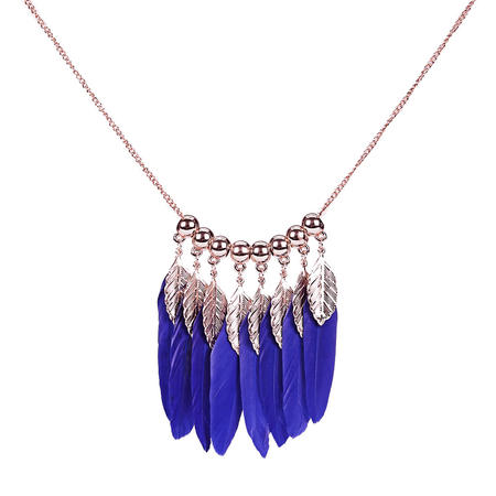 Royal Blue Feather and Leaf Pendant Necklace
