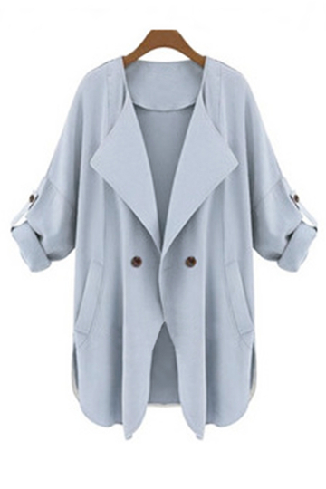 Light Blue Coat col à revers Loose Fit Trench