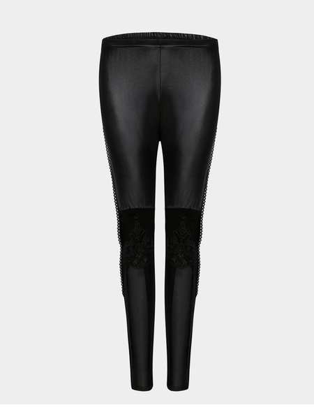 Hollow Out Lace Detalles Leggings Basic