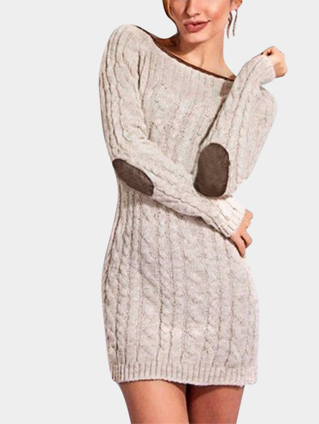 Apricot Round Neck Pullover Knitted Dress