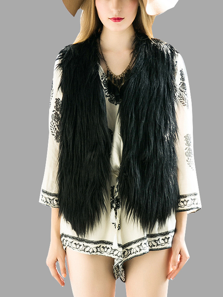 Black Fashion Sleeveless Artificial Fur Open Front Coat