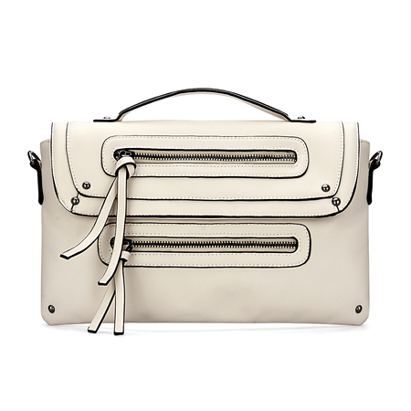 Beige Leather-look Zip Front Top Handle Bag with Rivet Detail