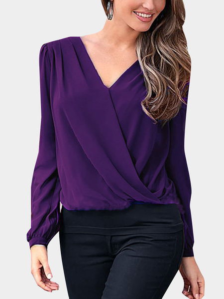 Purple Ladies Style V-neck Lace T-shirt
