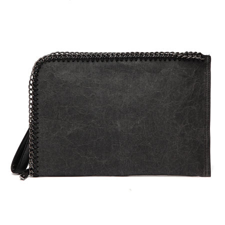 Black Chain Embellished Kraftpaper Clutch Bag