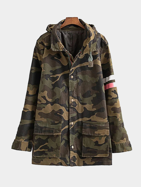 Point Neck Letter Back Camouflage Patter Hooded Coat