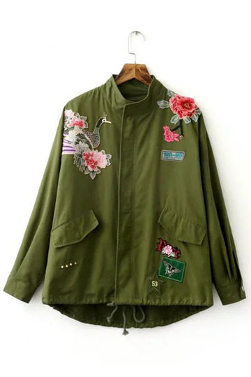 Army Green Embroidery Pattern Long Sleeves Winter Outerwear