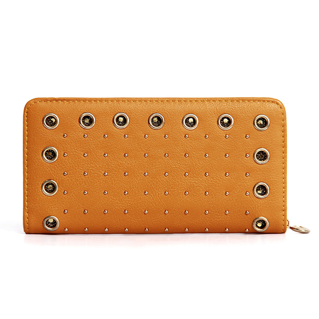 Eyelet Studded Leather-look Long Purse in Ochre