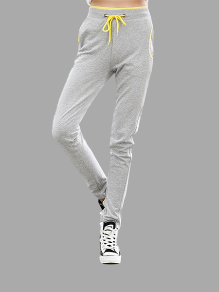 Casual Grey Stretchable Drawstring Waist Jogger