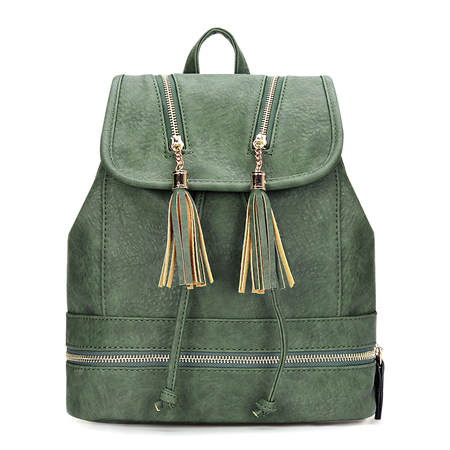 Textured Leather-look Backpack in Moss with Tassel