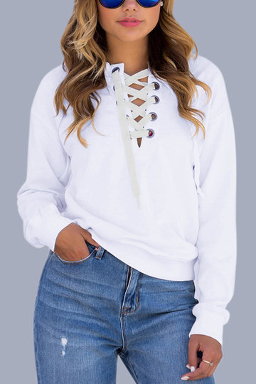 White Causal Lace-up Long Sleeves Sweatshirts