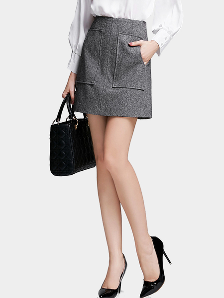 Gris A-ligne Mini-jupe avec Twin Patch Pocket