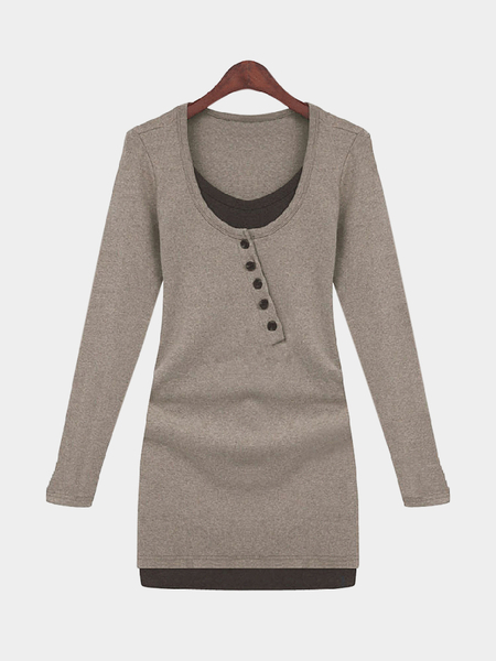 Coffee Button Front Round Collar Skinny Dress