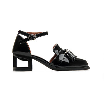 Black Leather Look Ankle Strap Hollow Heel Tassel Shoes