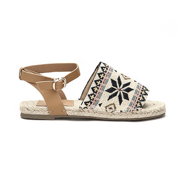 Totem Pattern Peep toe Flat Espadrilles with Buckle Fastening
