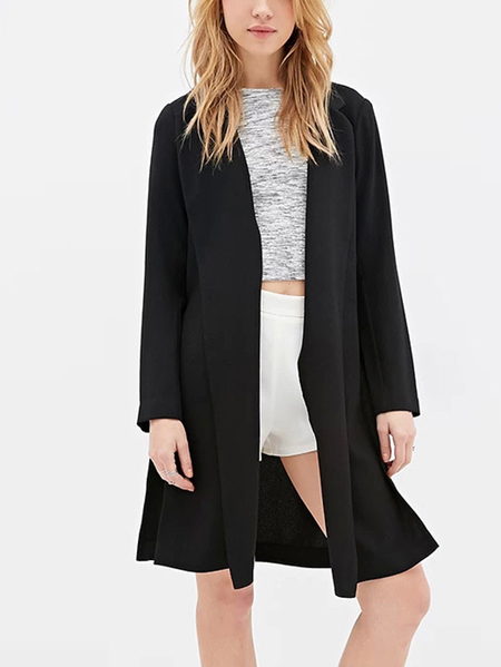 Black Long Sleeves Sides Splited Longline Open Front Jacket