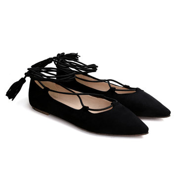 Black Suede Lace-up Flats